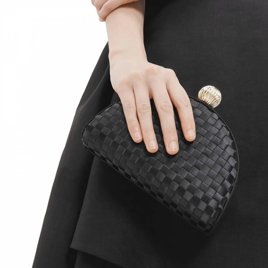 2e5488293d3f4f Black Kyla Woven Clutch Bag - BrandAlley