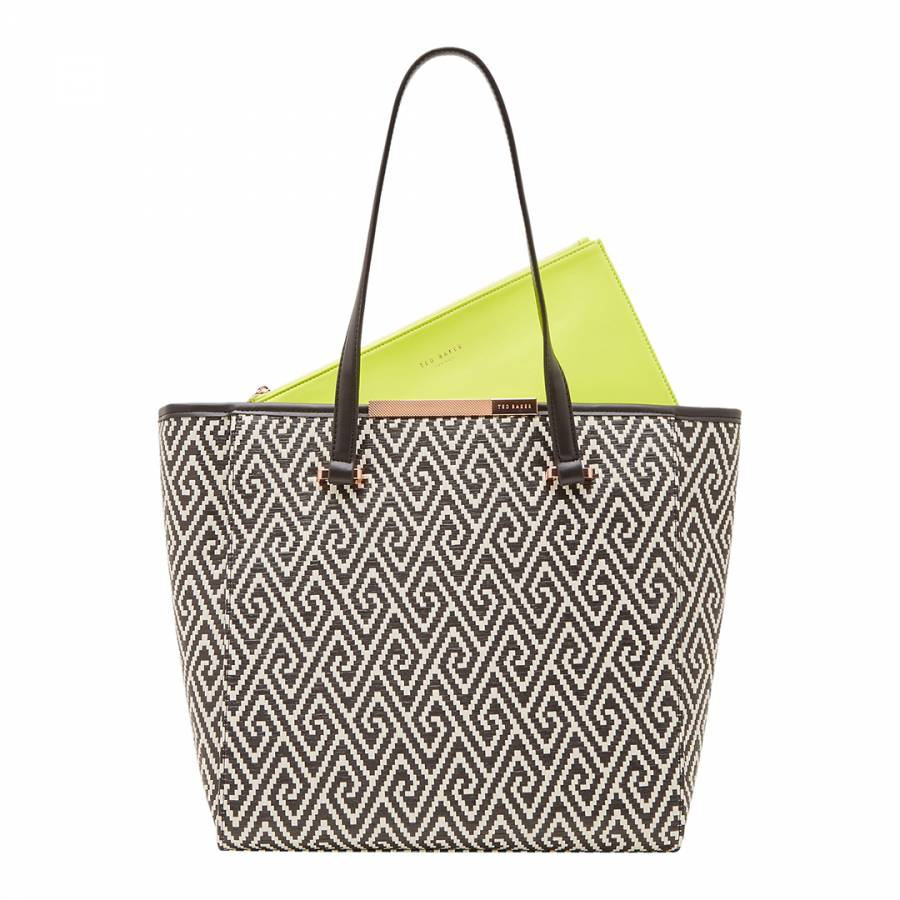 81a57c2b58 Womens Black Natasha Woven Geo Design Large Shopper Bag - BrandAlley
