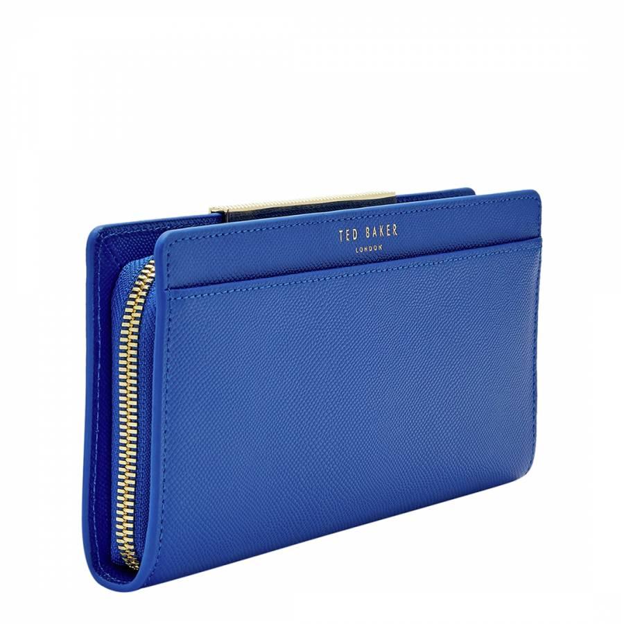 7d8f582bb Womens Blue Darrah Crosshatch Textured Bar Zip Matinee Purse - BrandAlley
