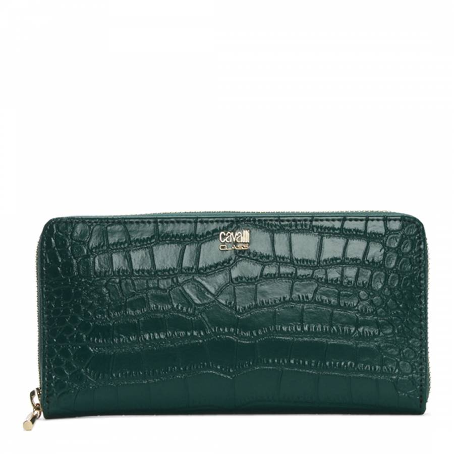 Cavalli Class Women s Dark Green Moc Croc Leather Purse c9c26b2426e14