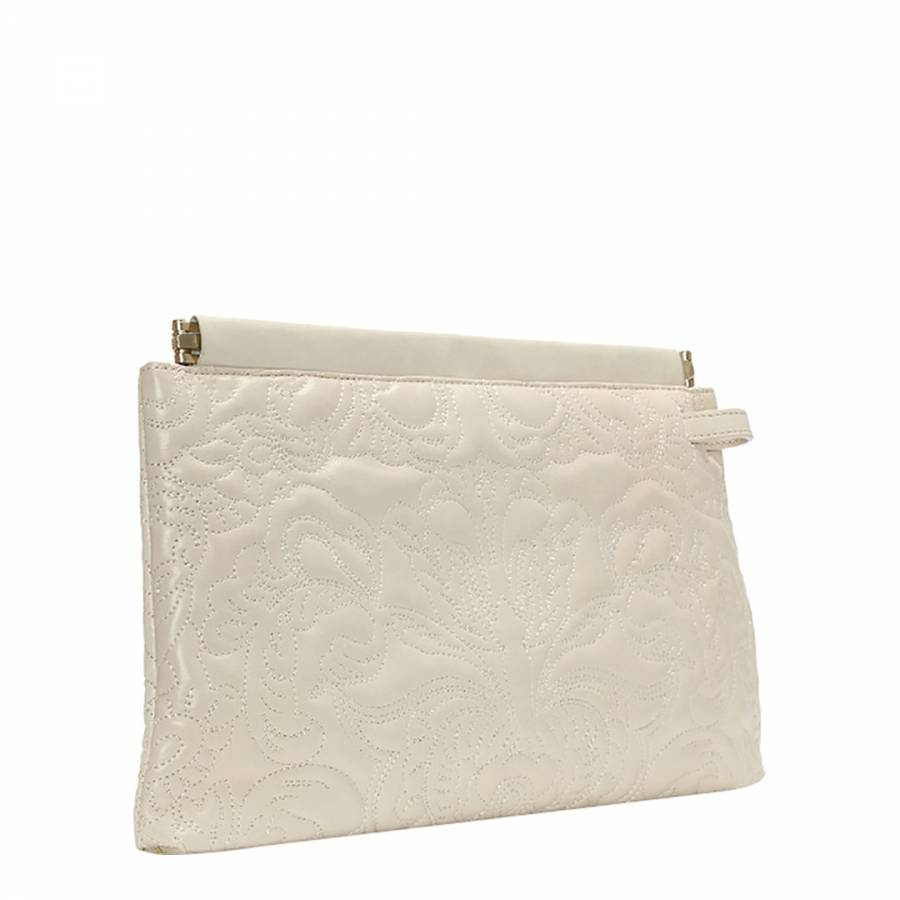 Women's Cream Embroidered Leather Clutch Bag BrandAlley