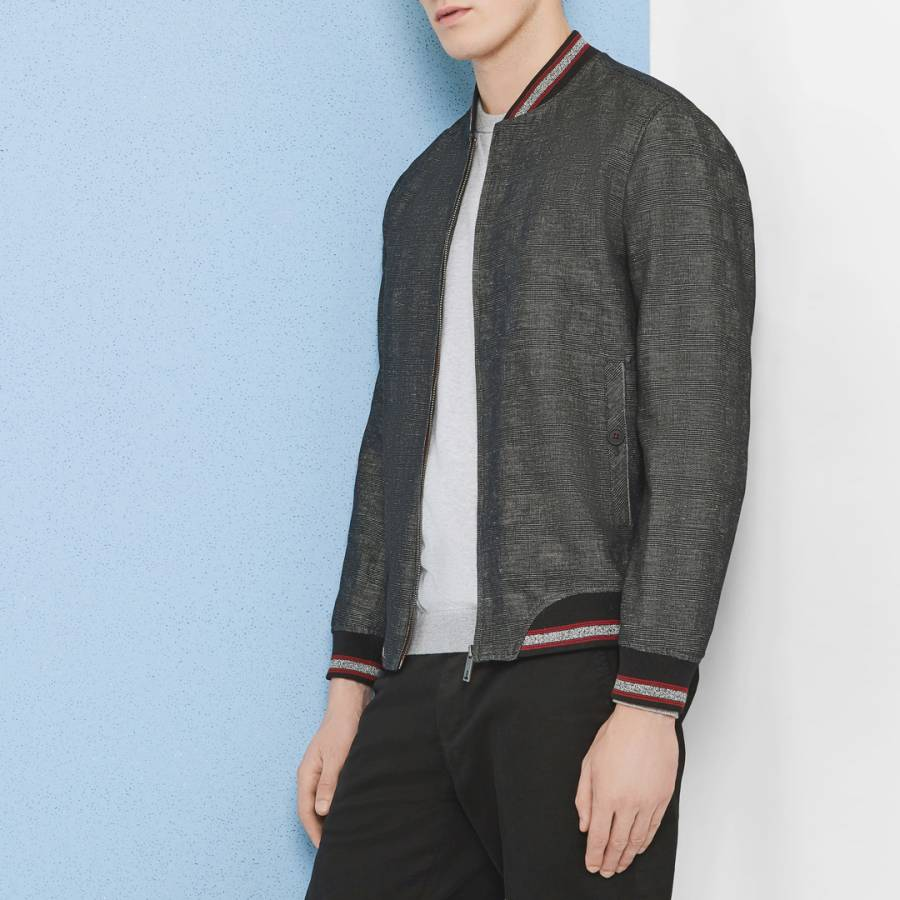 ff1780c36 Charcoal Reactiv Checked Bomber Jacket - BrandAlley