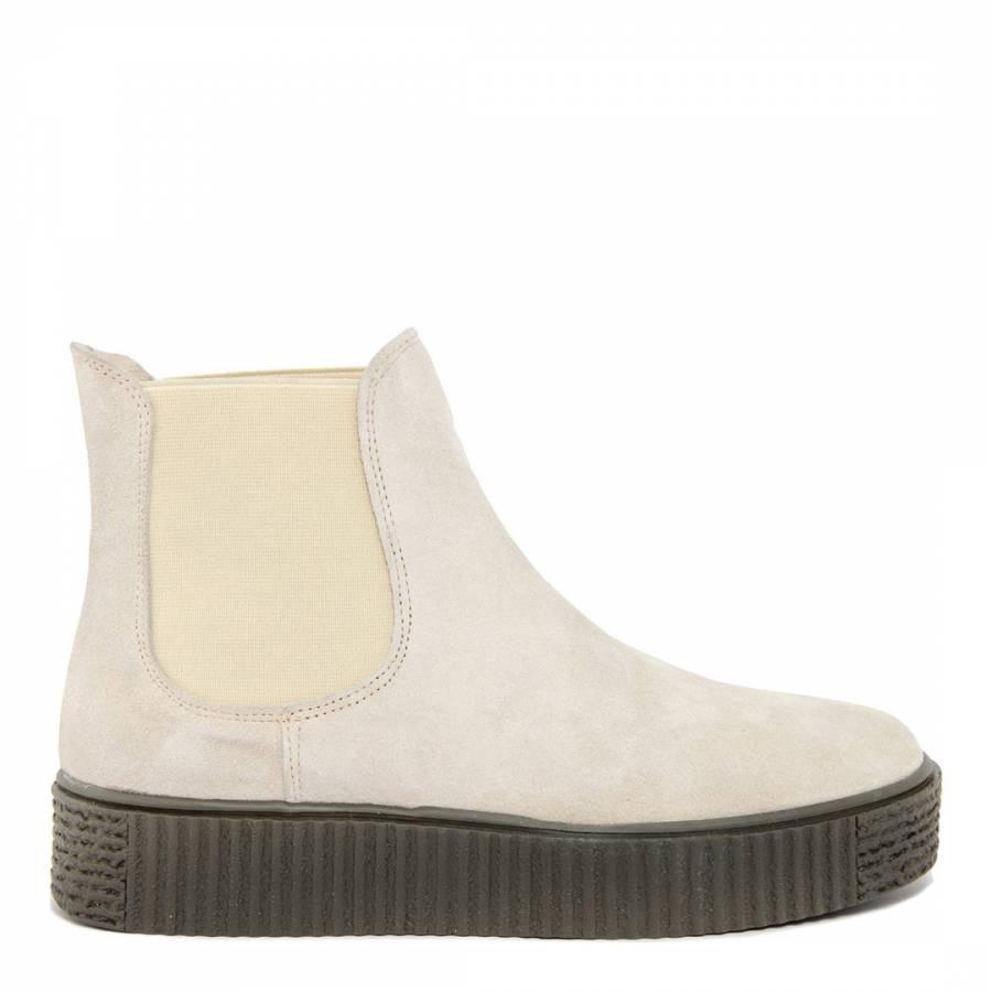 31ec4ee228ea Cream Suede Flatform Ankle Boot - BrandAlley