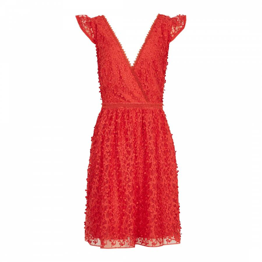 Reiss Red Abrianna Lace Short Dress