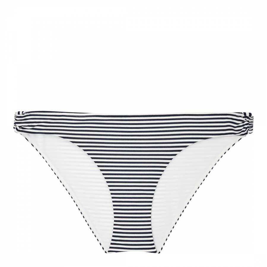 803241f7bdeee Off White Navy Bermuda Stripe Bikini Bottoms - BrandAlley