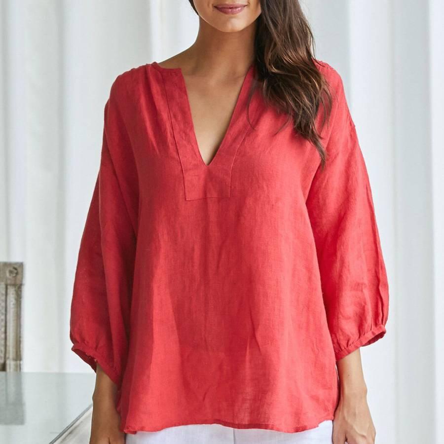 fb3a63d7ca9 Red Rafaela Linen Blouse - BrandAlley