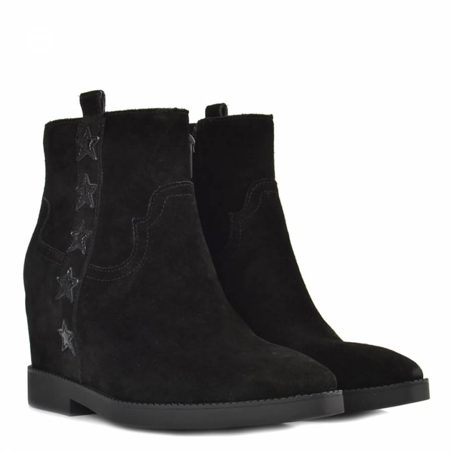 1f47da0cbe4 Black Suede Goldie Wedge Ankle Boots - BrandAlley