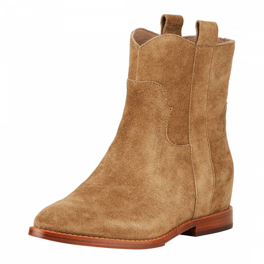 72383f2f3610 Brown Suede Jane Low Wedge Ankle Boots - BrandAlley