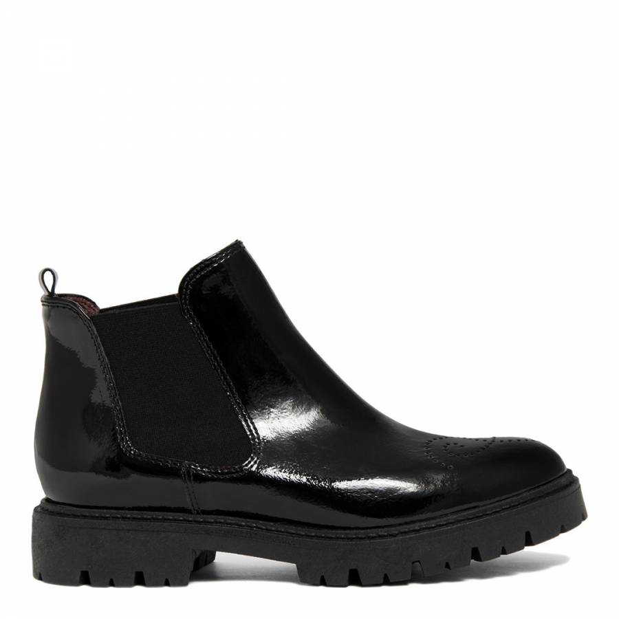 16e2d08881b9 Black Patent Leather Chunky Sole Chelsea Boot - BrandAlley