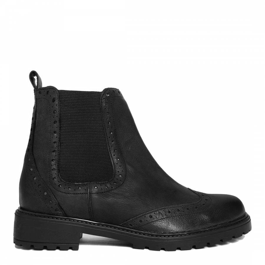 bf9e6a8b433 Black Leather Brogue Style Chelsea Boot - BrandAlley