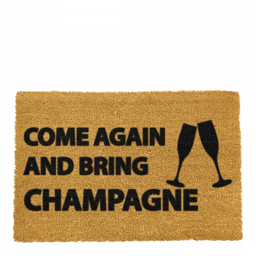 Natural Come Again & Bring Champagne Doormat - BrandAlley
