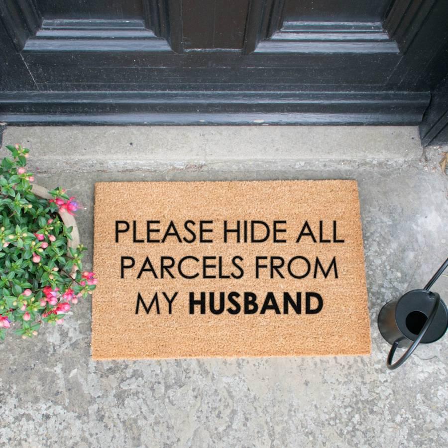 Natural/Black Please Hide All Parcels Doormat - BrandAlley