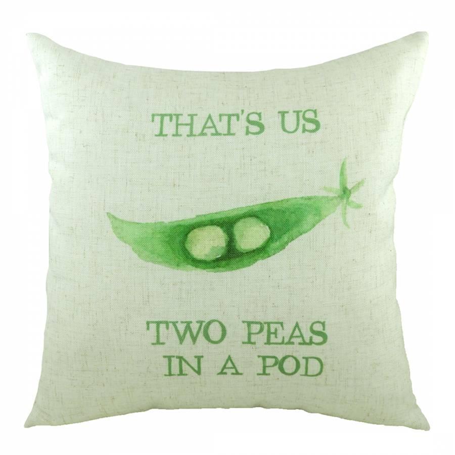 Green 5 a day peas in a pod cushion 43x43cm