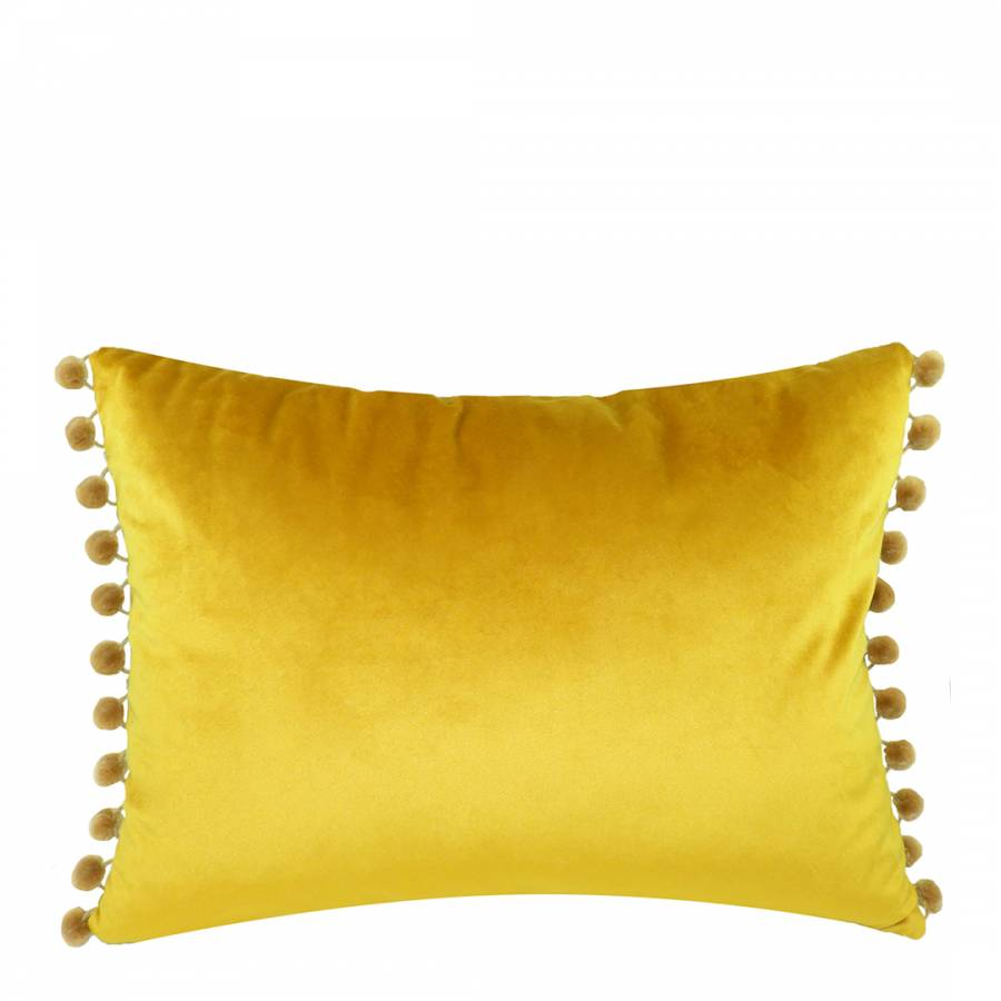 Gold Royal Velvet Pom Pom Cushion 33x43cm Brandalley