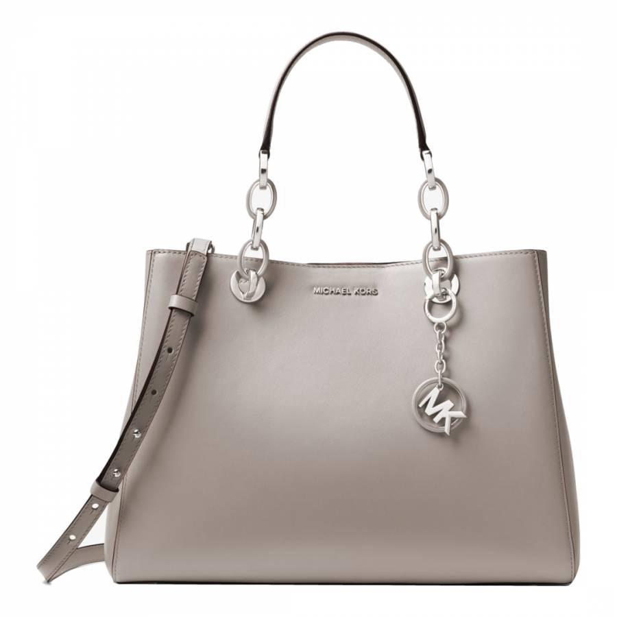 1221b413e2d7 Michael Kors Pearl Grey Cynthia Satchel Bag