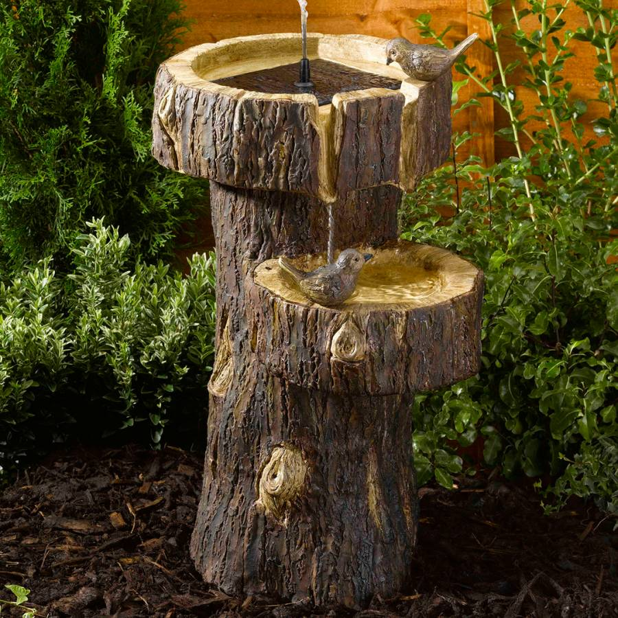 Christmas Tree Drinking Water: Brown Tree Trunk Fountain