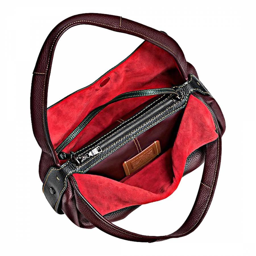 48570a0057 Oxblood Glovetanned Pebble Leather Bandit Hobo Bag - BrandAlley