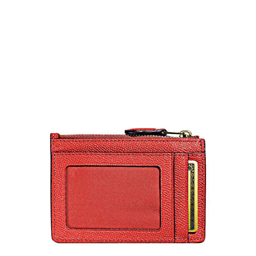 42af395b66e4 Deep Coral Leather Mini Skinny Id Case - BrandAlley
