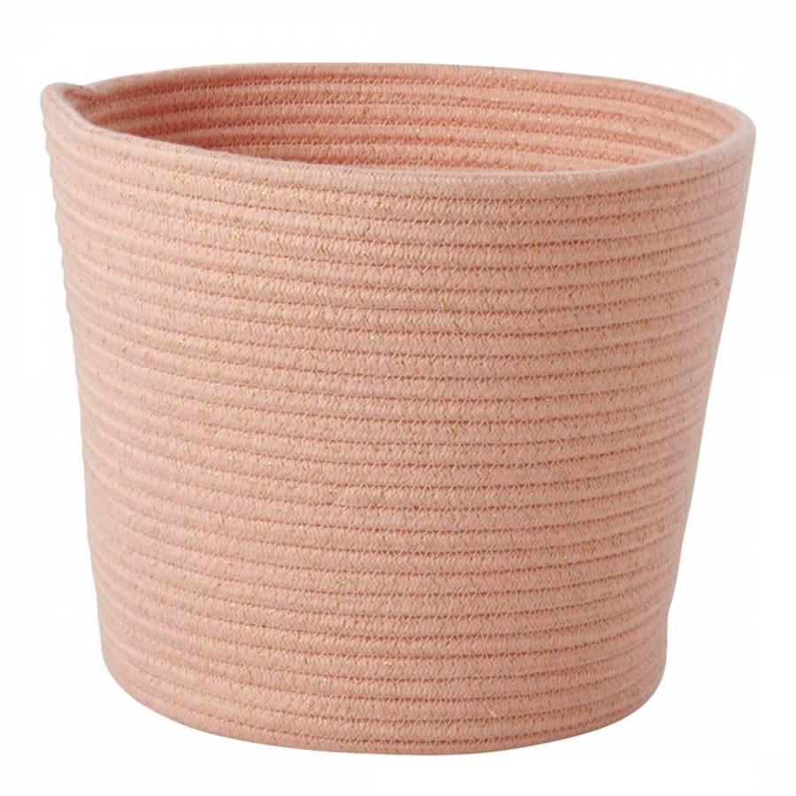 Rice Round Rope Storage Basket Coral