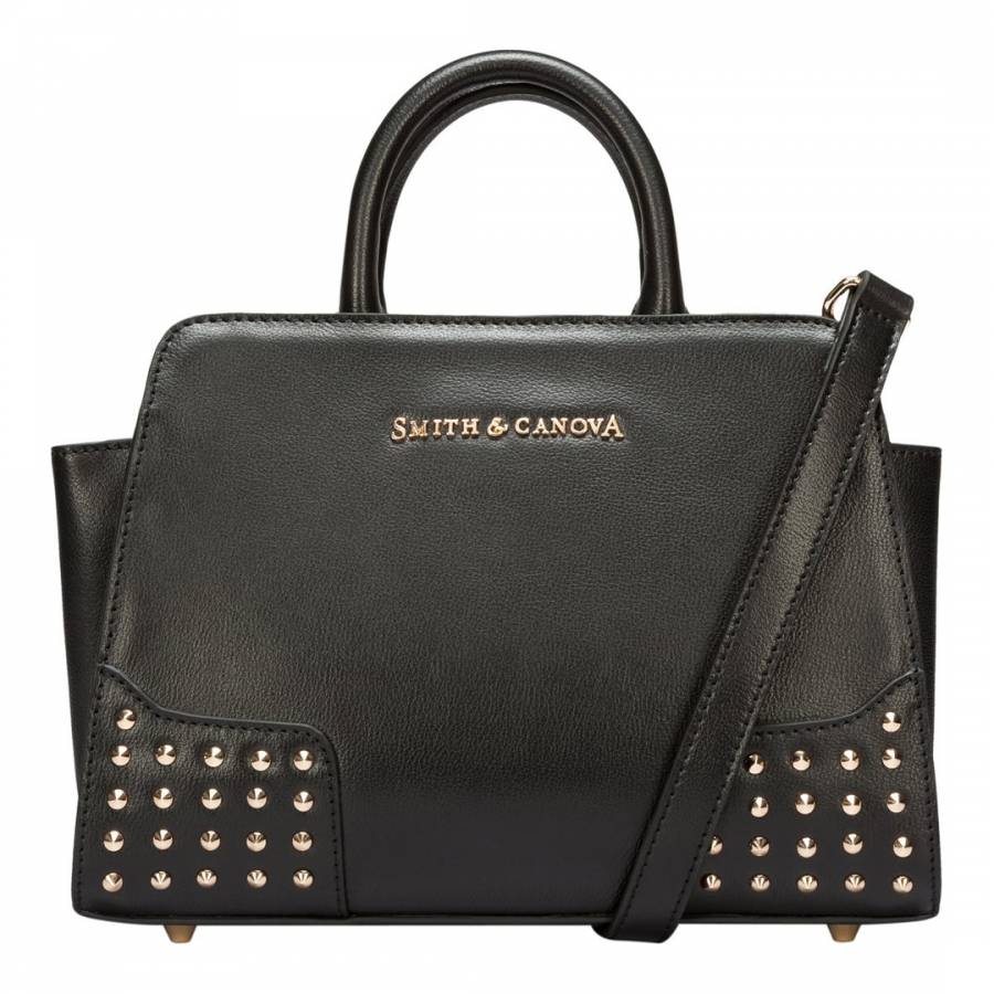 Smith   Canova Black Corner Studded Small Zip Top Leather Bag 0cc5eee463b84