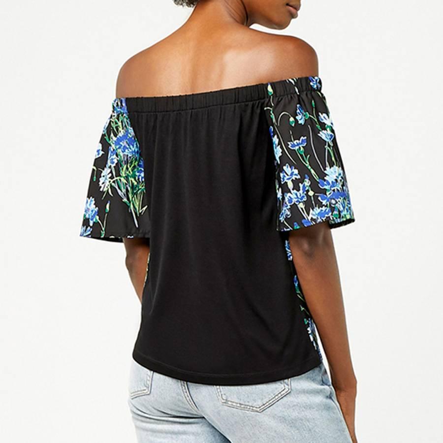 ea65663144034e Black Pattern Full Bloom Woven Front Bardot - BrandAlley