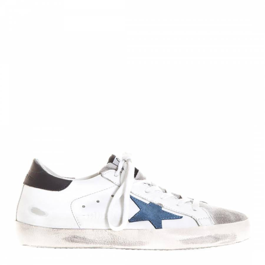 a36f8eb4d76 Women s White Blue Leather Superstar Sneakers - BrandAlley