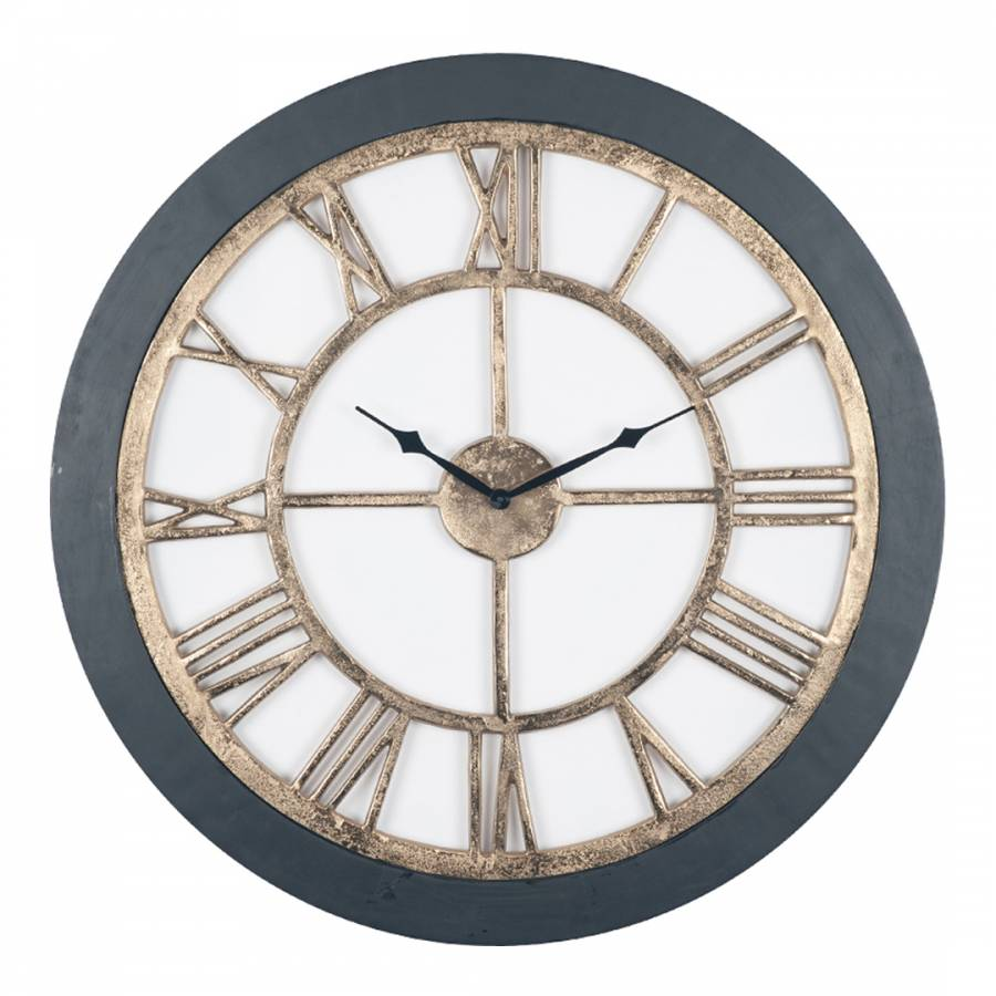Antique Brass Amp Black Wood Round 69cm Wall Clock Brandalley