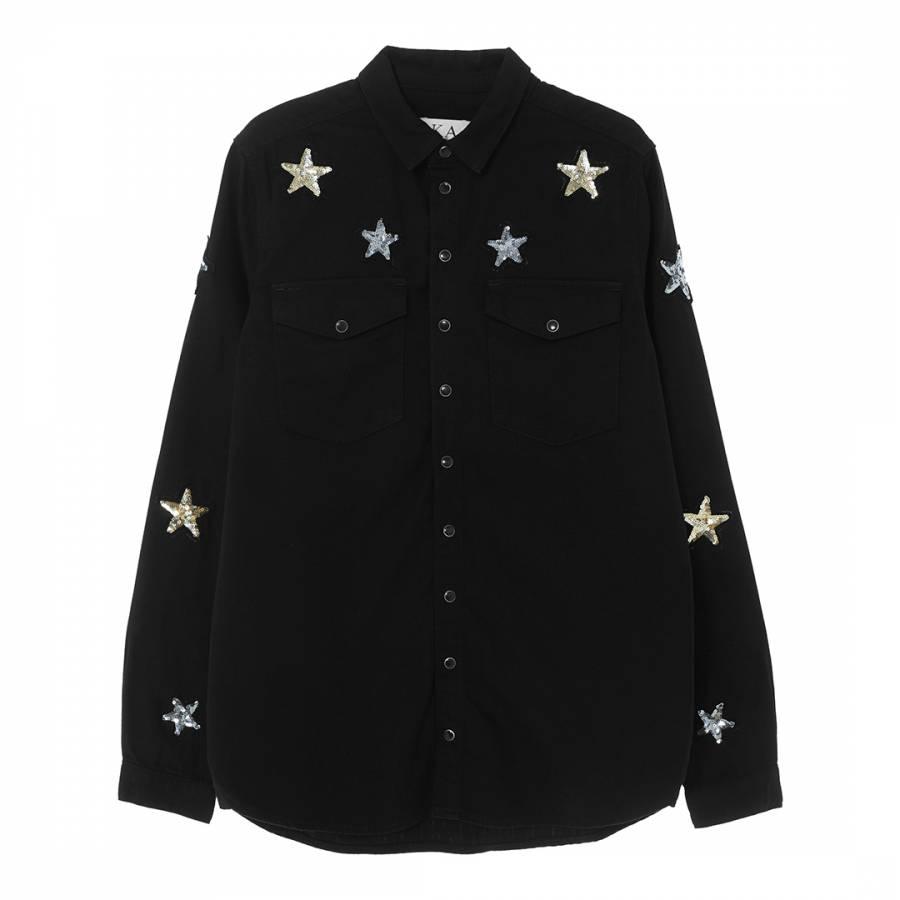 Image of Black Sequin Stars Cotton Shirt