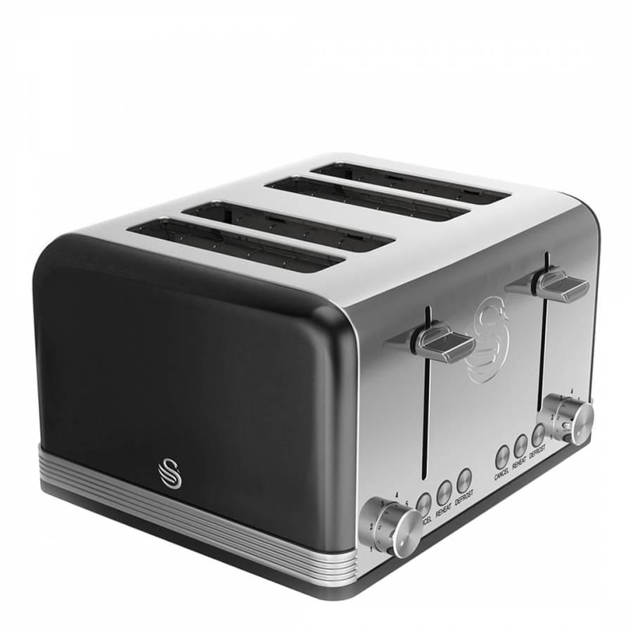 black retro 4 slice toaster brandalley. Black Bedroom Furniture Sets. Home Design Ideas
