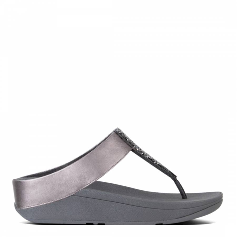 45866e0aa632df Women s Pewter Sparklie Crystal Toe Post Sandals - BrandAlley