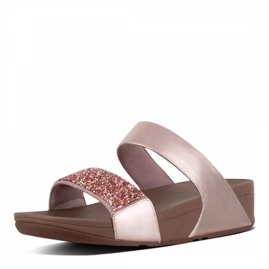 Womens Rose Gold Sparklie Crystal Slide Sandals Brandalley