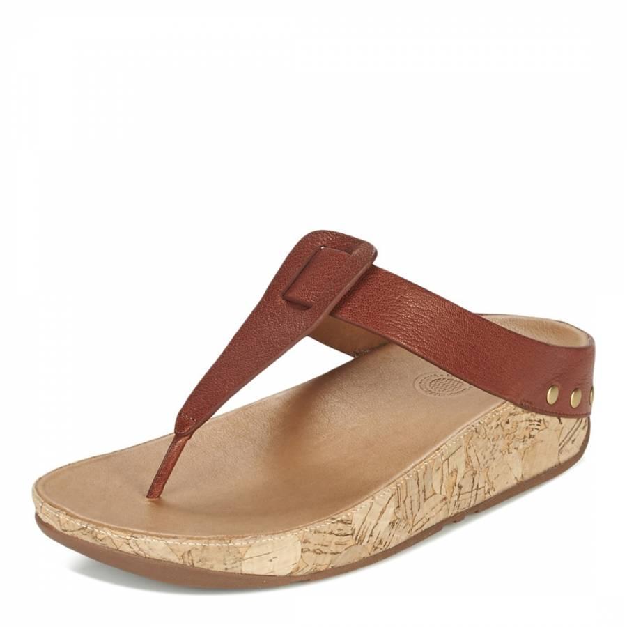 c43b2022909560 Women s Tan Brown Ibiza Cork Toe Thong Sandal - BrandAlley