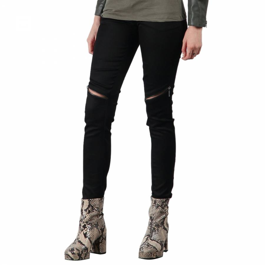 Image of Black Horizontal Zip Skinny Jeans