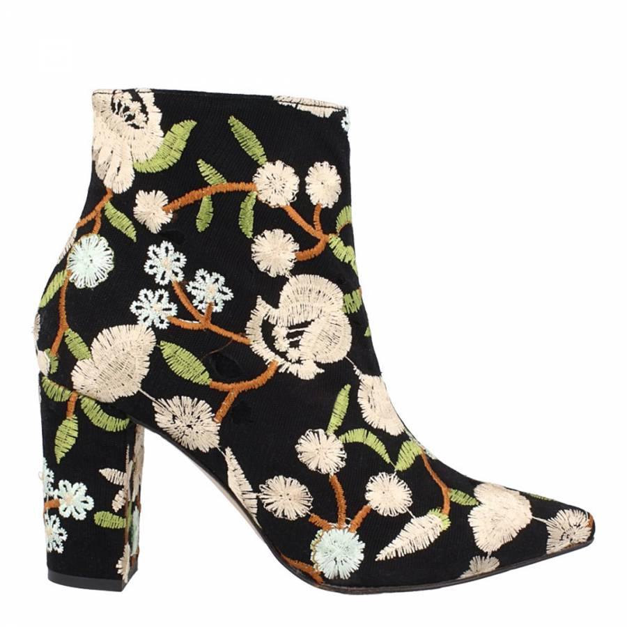 Cream Floral Embroidered Ankle Boots Brandalley Detail Roberto Botella