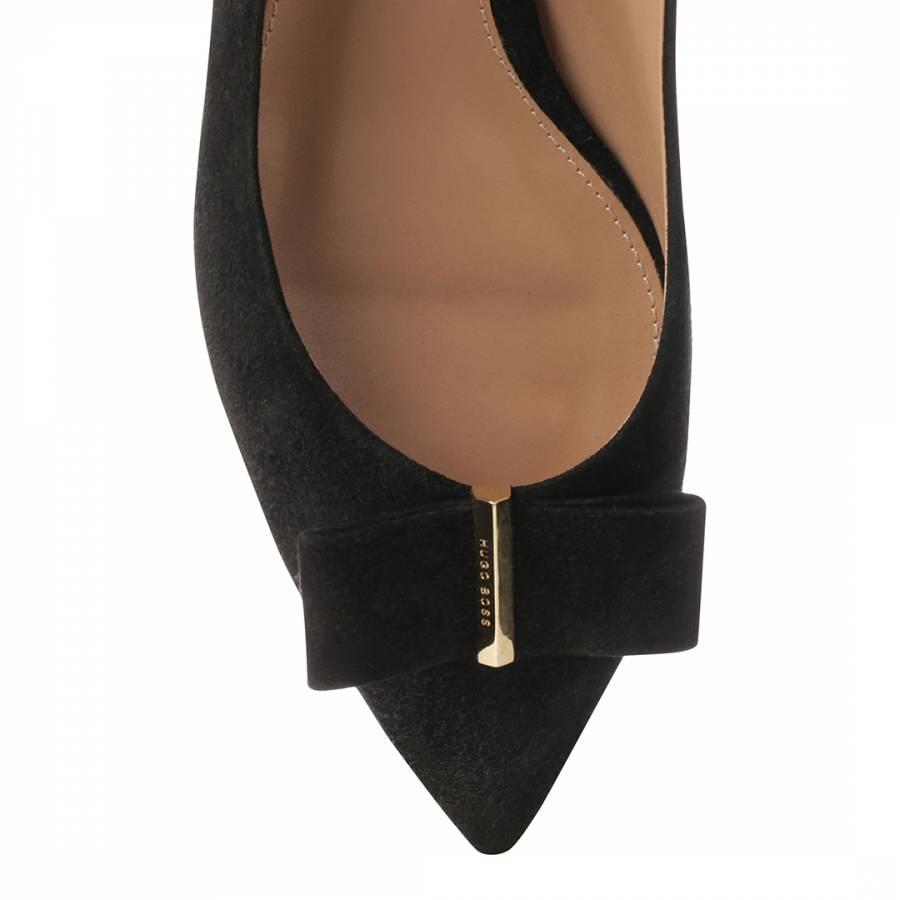 e8a4bcaaefb Black Suede Bow Ballerina Flat Pumps - BrandAlley