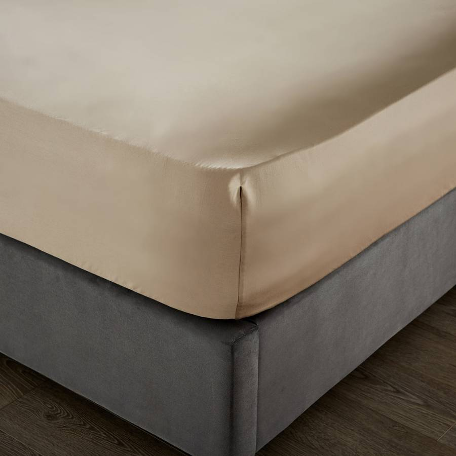 Image of 1000TC Double Deep Fitted Sheet Flax