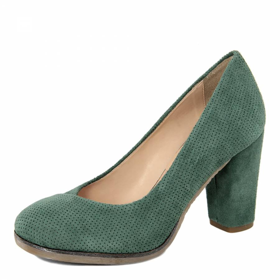 99a253eaa62 Green Suede Perforated Block Heeled Pumps - BrandAlley