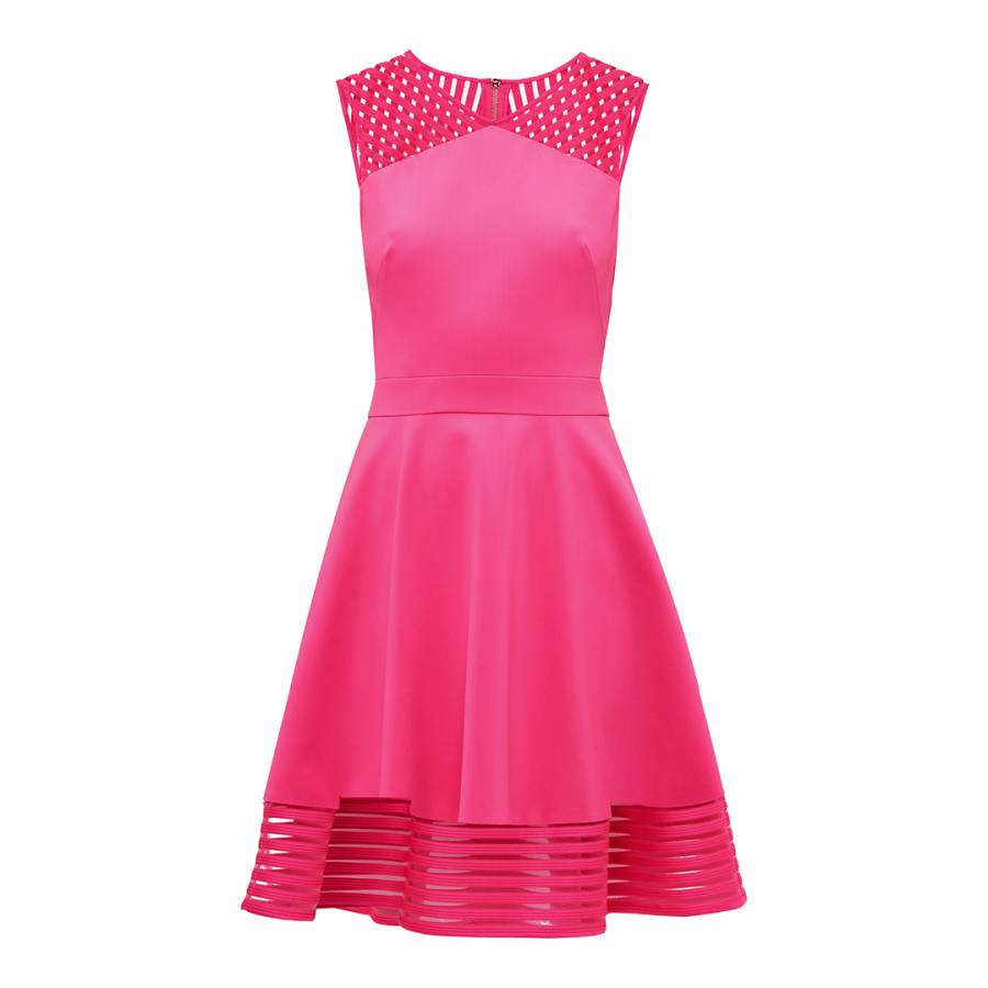 421afc052534d Fuchsia Eleese Mesh Detail Skater Dress - BrandAlley