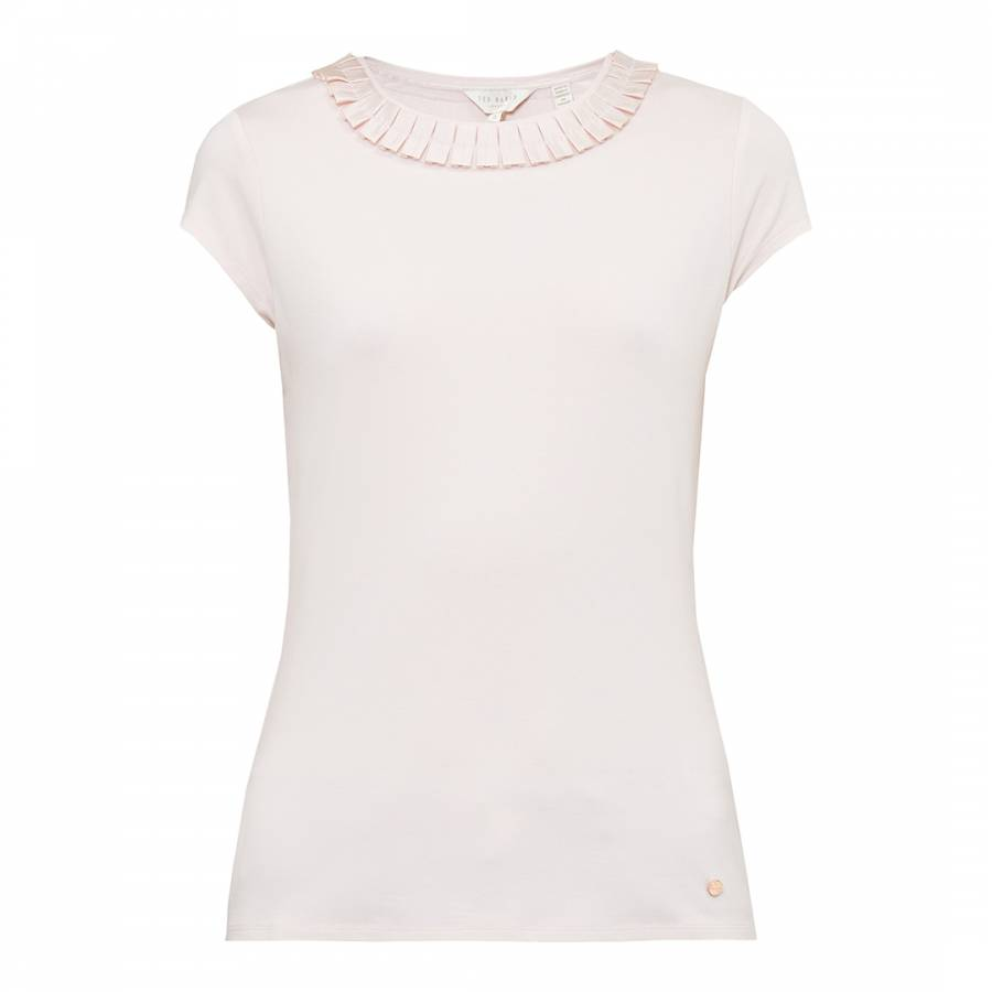 d0212f7d5664 Baby Pink Sillia Frill Neck Fitted T-Shirt - BrandAlley