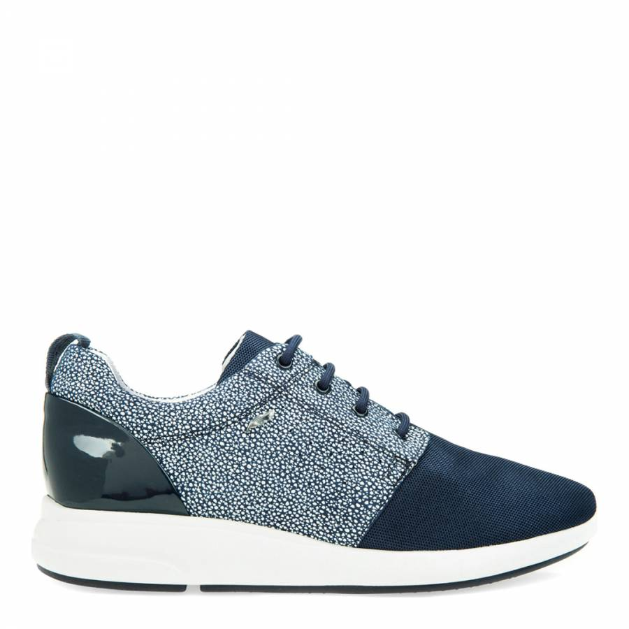 2f3d819f01c1 Women s Navy Leather Mesh Print Trainers - BrandAlley
