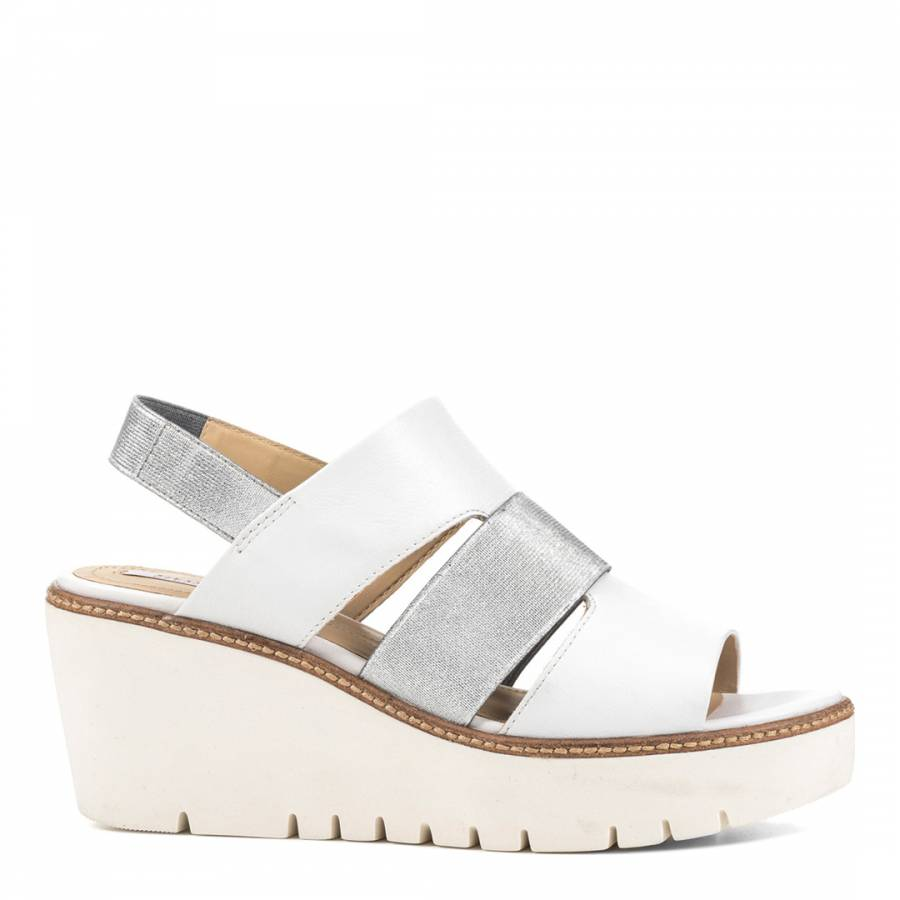 Silver Leather Wedge Sandals - BrandAlley