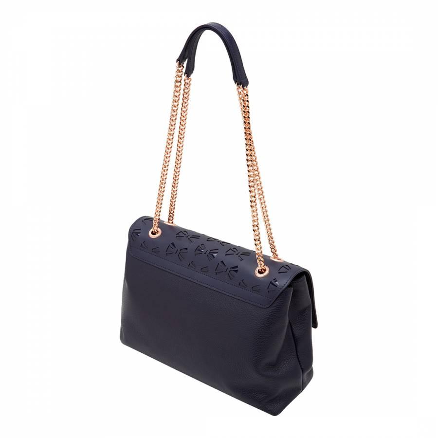 e90ae4f4248c Womens Navy Leather Maisyy Shoulder Bag - BrandAlley