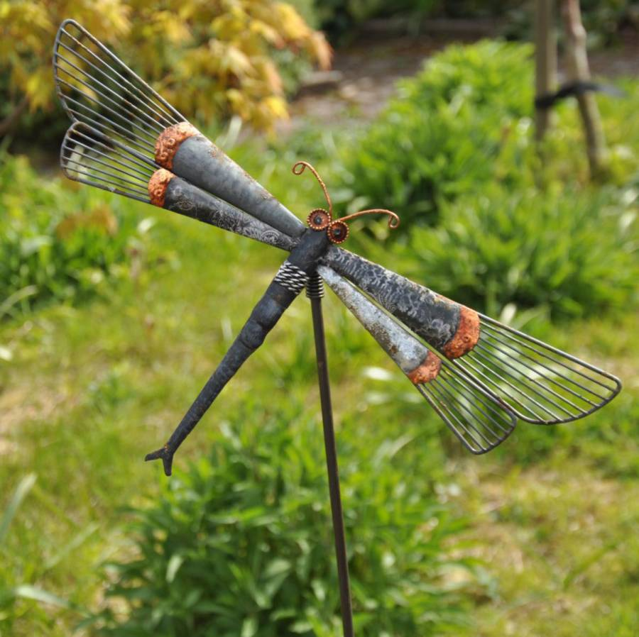 dragonfly garden stakes. Adobe Indonesian Dragonfly Garden Stake Stakes
