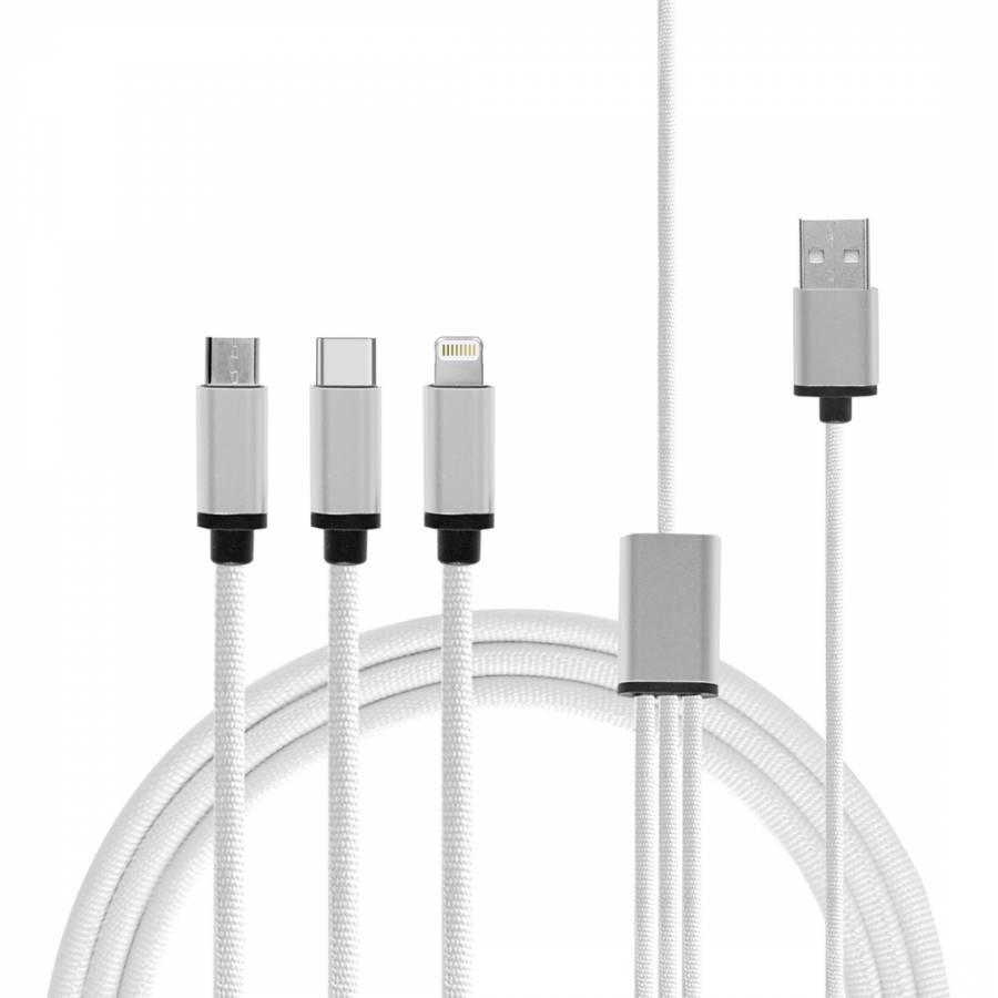 Micro USB C Lightning Cable Linen