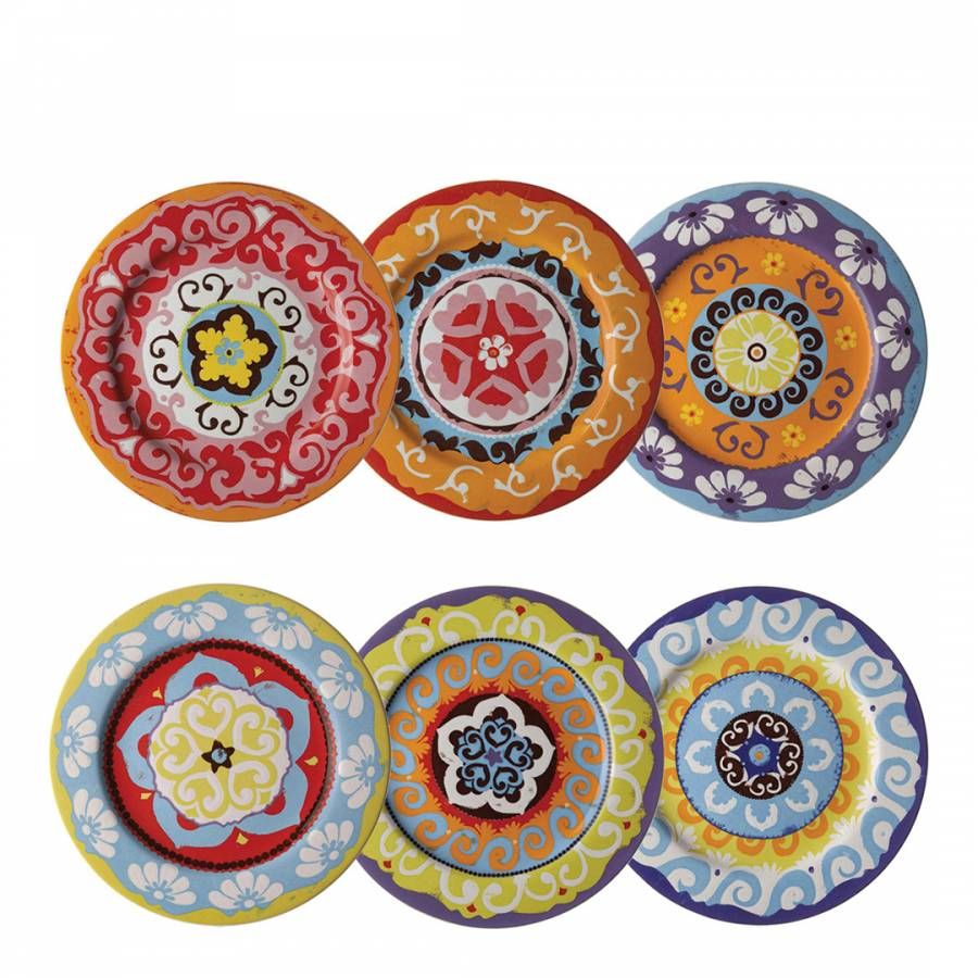 Nador Multi Coloured Set of 6 Dinner Plates  sc 1 st  BrandAlley & Multi Coloured Set of 6 Dinner Plates - BrandAlley