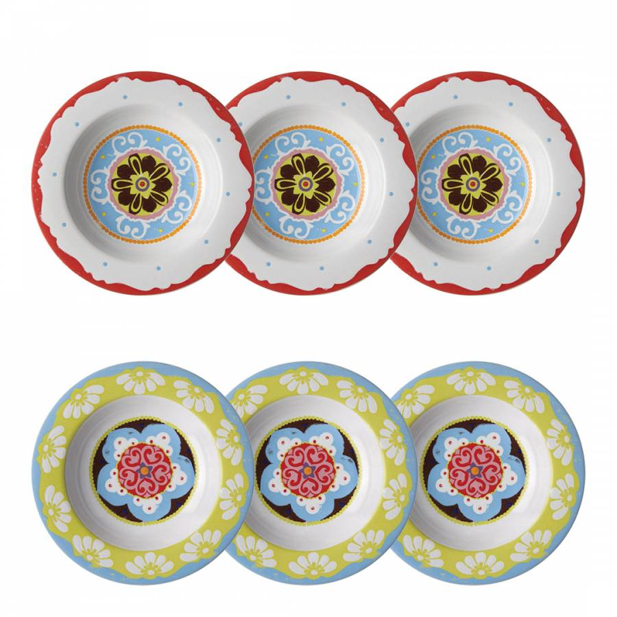Nador Set of 6 Soup Plates Mixed Colours Mediterranean Style !