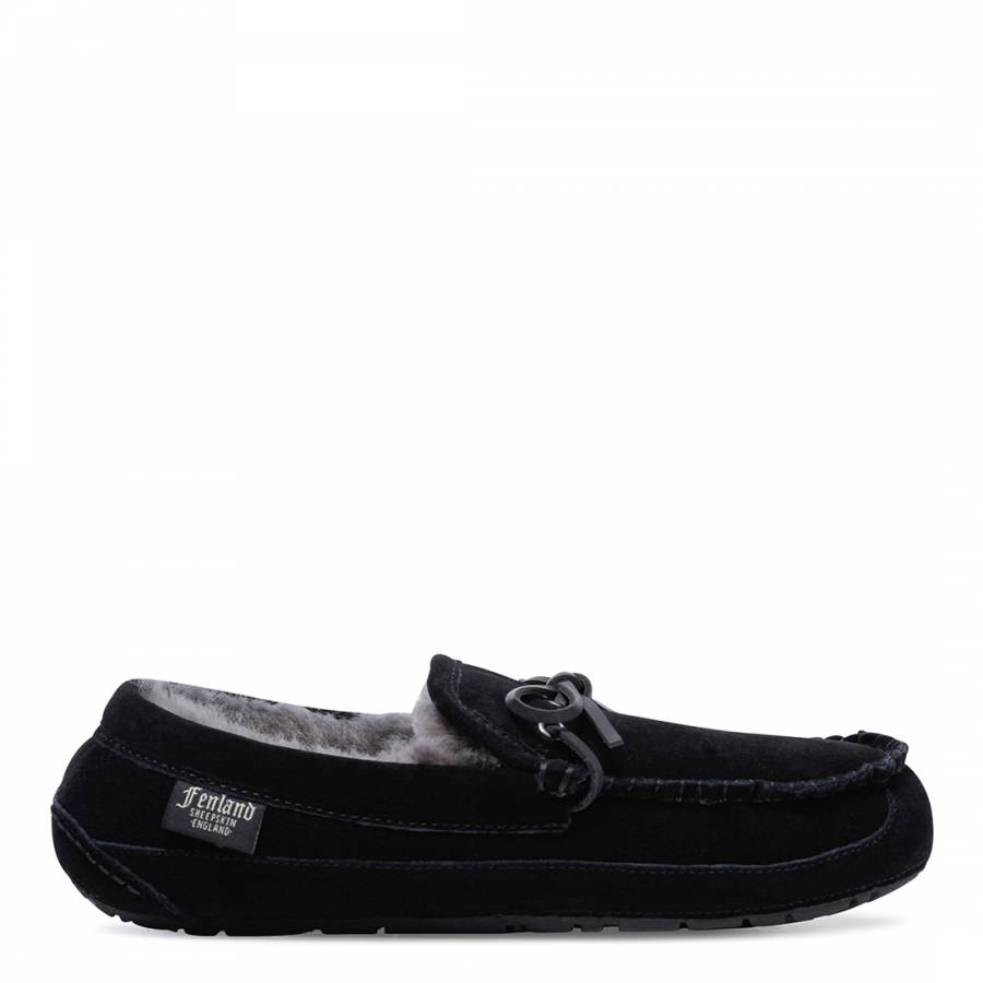 be5900b8332edc Mens Black Sheepskin Moccasin Classic Scuffs - Slippers - Shoes ...