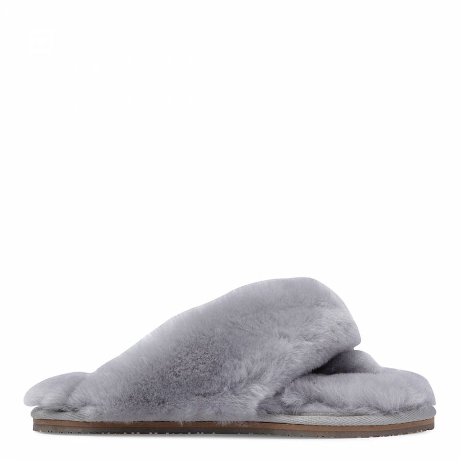 4c56ba427b5 Fenlands Sheepskin. Women s Grey Sheepskin Flip Flop Slipper