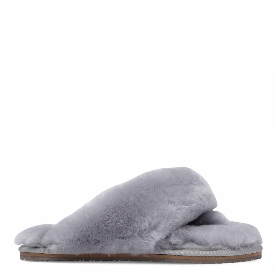 4e8b2c9c1d7 Fenlands Sheepskin Women s Grey Sheepskin Flip Flop Slipper