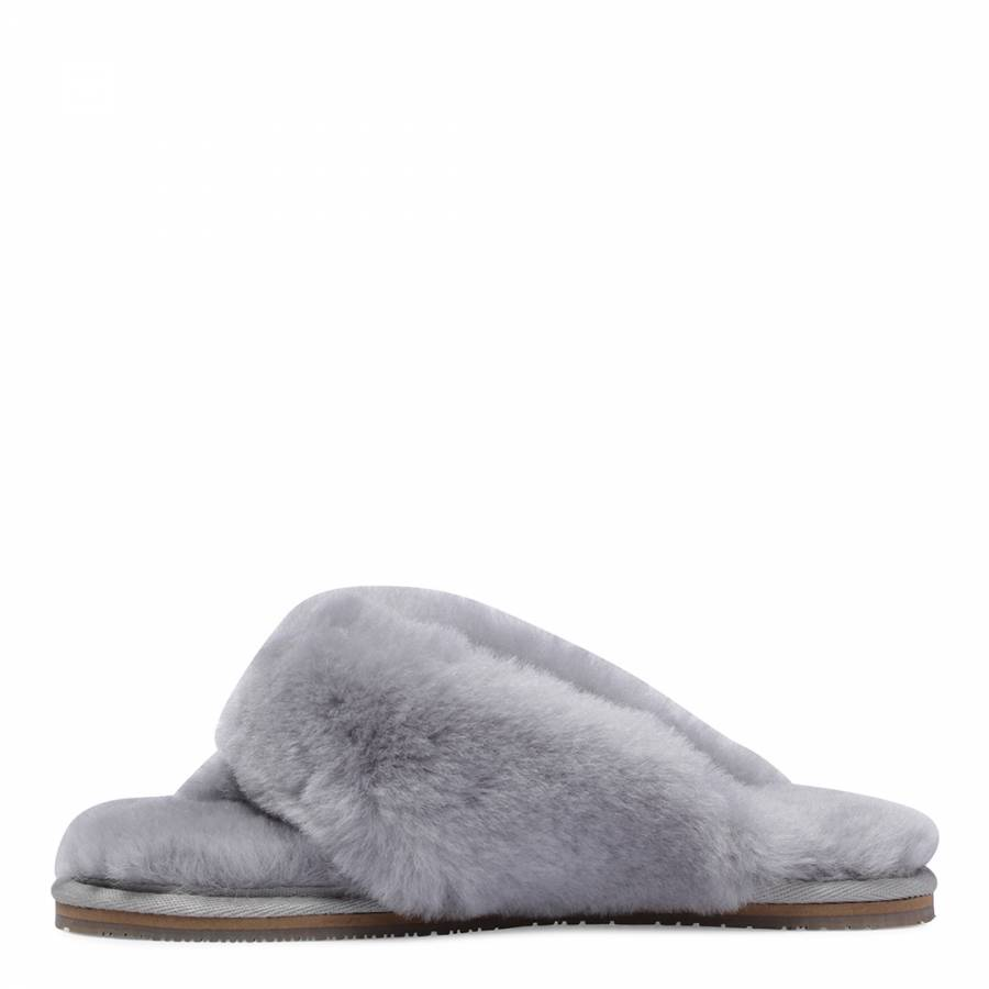 f22ec373393414 Women s Grey Sheepskin Flip Flop Slipper - BrandAlley